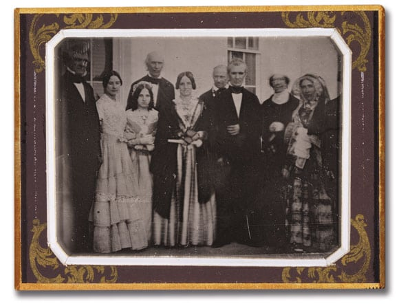 A fascinating photograph from the mid- to late 1840s shows President James K. Polk, third from right, with a group of people, possibly taken at the White House. Also in the photo are then-Secretary of State (and future president) James Buchanan at far left; Polk's wife, Sarah Childress Polk, center; and Dolley Madison, second from left, widow of President James Madison. Photograph Courtesy of George Eastman House, International Museum of Photography and Film.