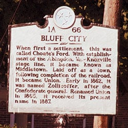 Bluff City went by Choate's Ford, Middletown, Union and Zollicoffer before it was incorporated. Below, Nashville was first known as Fort Nashborough.
