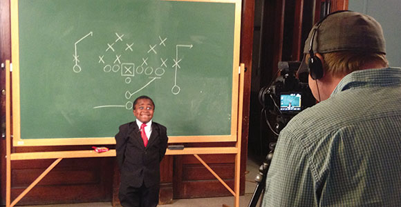 "Robby Novak hams it up  as ""Kid President"" while his brother-in-law, Brad Montague, films. Their videos, filled with positive messages of encouragement, have been viewed by millions around the world."