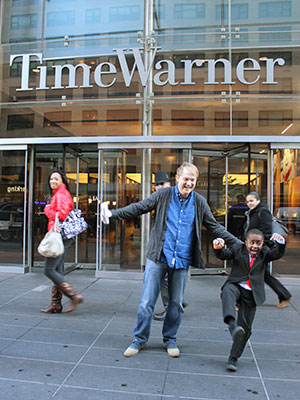 Novak and Montague leave Time Warner's offices in New York after an  appearance on CNN.