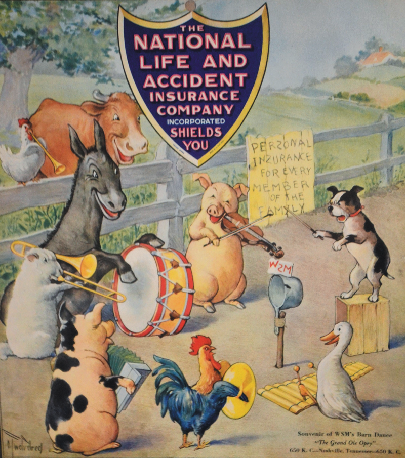 "This 1935 wall calendar given away by National Life & Accident Insurance Co. door-to-door salesmen shows is that as late as the 1930s, the ""Grand Ole Opry"" was also still known by the title ""Barn Dance."""