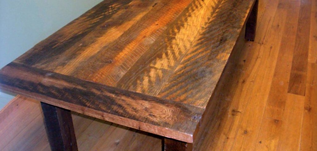 Lumber in this oak farm table came from a barn in Manchester.