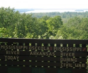 At Fort Pillow State Park in Tipton County, you can see where the Mississippi River flowed at the time of the Civil War compared to its current route.