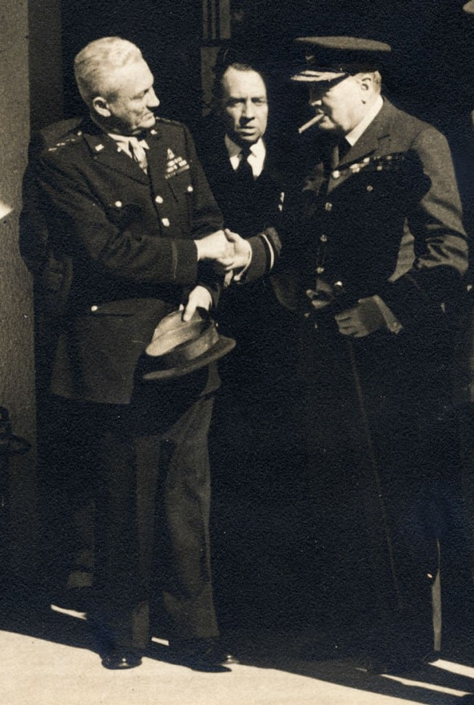 General Frank Maxwell Andrews, left, meets British Prime Minister Winston Churchill, right, at Casablanca in January 1943. (Photograph courtesy of the Andrews family)