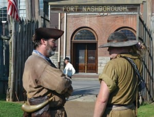 Interpretive staff at Fort Nashborough in downtown Nashville stand ready to educate visitors on the city's early days. Attendance dwindled, and now the site is closed to visitors.