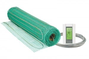 Radiant heat can be supplied by thin mesh and controlled by a wall thermostat. Photograph courtesy of Warmly Radiant Inc.