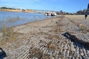 Cobblestone landing along the Mississippi River in Memphis.