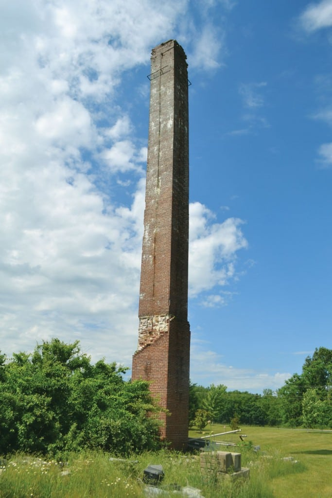 A massive brick chimney is the largest remaining structure from the Crossville POW camp. Photograph courtesy of Tennessee History for Kids