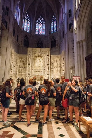 Tennessee's Youth Tour group visits the Washington National Cathedral where delegates studied intricate elements like beautifully colored stained-glass windows and detailed carvings.