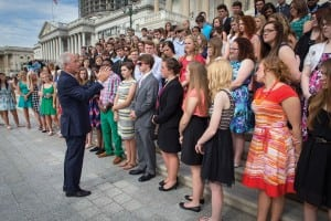 Sen. Bob Corker welcomes Tennessee's Youth Tour group to the U.S. Capitol.