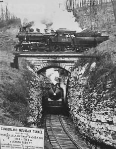The historic Cumberland Mountain Tunnel was built by the Nashville and Chattanooga Railroad.