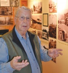 Town native Herman Tester gives a tour at the Butler Museum. (Tennessee History for Kids photo)