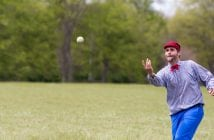 """David """"Happy"""" Morrison pitches for the Lightfoot Club of Chattanooga. Underhand pitching was the norm in 1800s base ball. Vintage """"ballists"""" opt for accuracy over speed."""