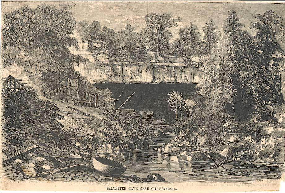 Nickajack Cave was also known as Saltpeter Cave for the ingredient Union and Confederate armies mined there to manufacture gunpowder. Courtesy of the Tennessee State Library and Archives