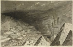 """""""Saltpeter Works in the Cave at Shellmound, Tenn. (Nickajack Cave)"""" by J.T.E. Hillen"""