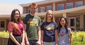 From left, students Peach Virojchalerm from Thailand, Greg Riquet from France, Josie Monnike from Denmark and May Park from South Korea attended school in the U.S. this year, living with families in Clarksville.
