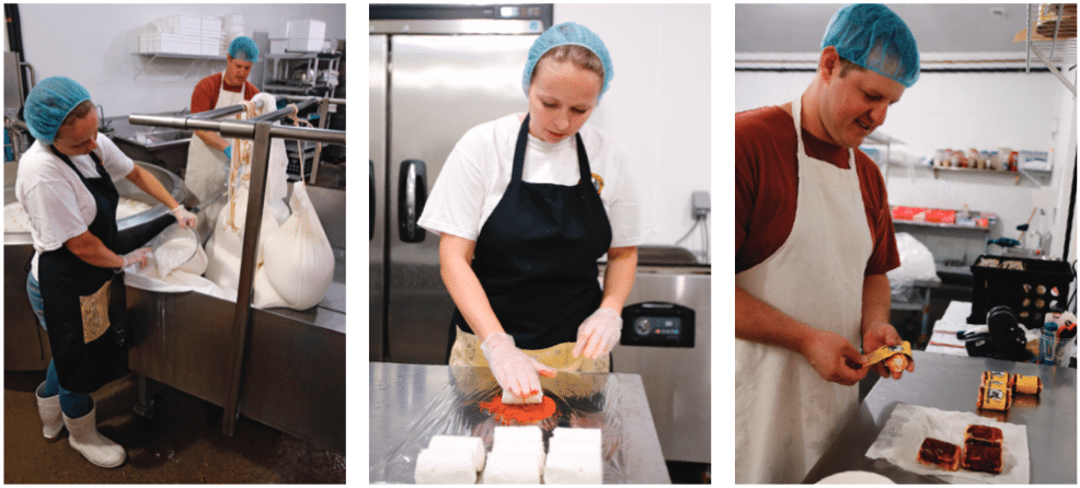 Justyne and Dustin Noble go through some of the steps in making cheese. Above left, they ladle curd into sacks to drain excess whey liquid. After the cheese has been aged and shaped into logs, it's rolled in spices. Above center, Justyne rolls chevre in their Nashville Hot Chicken spices. At right, Dustin applies labels after the cheese is shrink-wrapped.