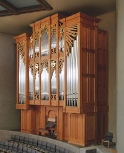 A Richards, Fowkes & Company organ at Pinnacle Presbyterian Church in Scottsdale, Arizona. The case is made of waxed Douglas fir, and the design is beautifully inspired by elements of native Hopi art from the region.