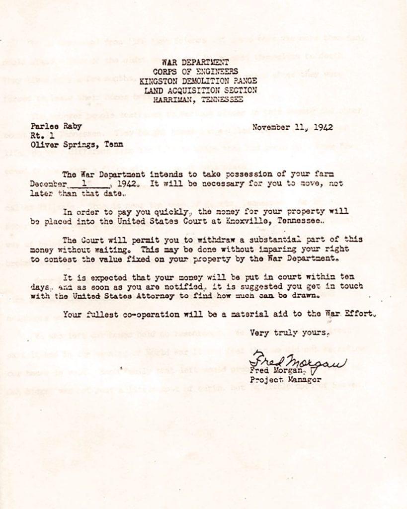 Parlee letter